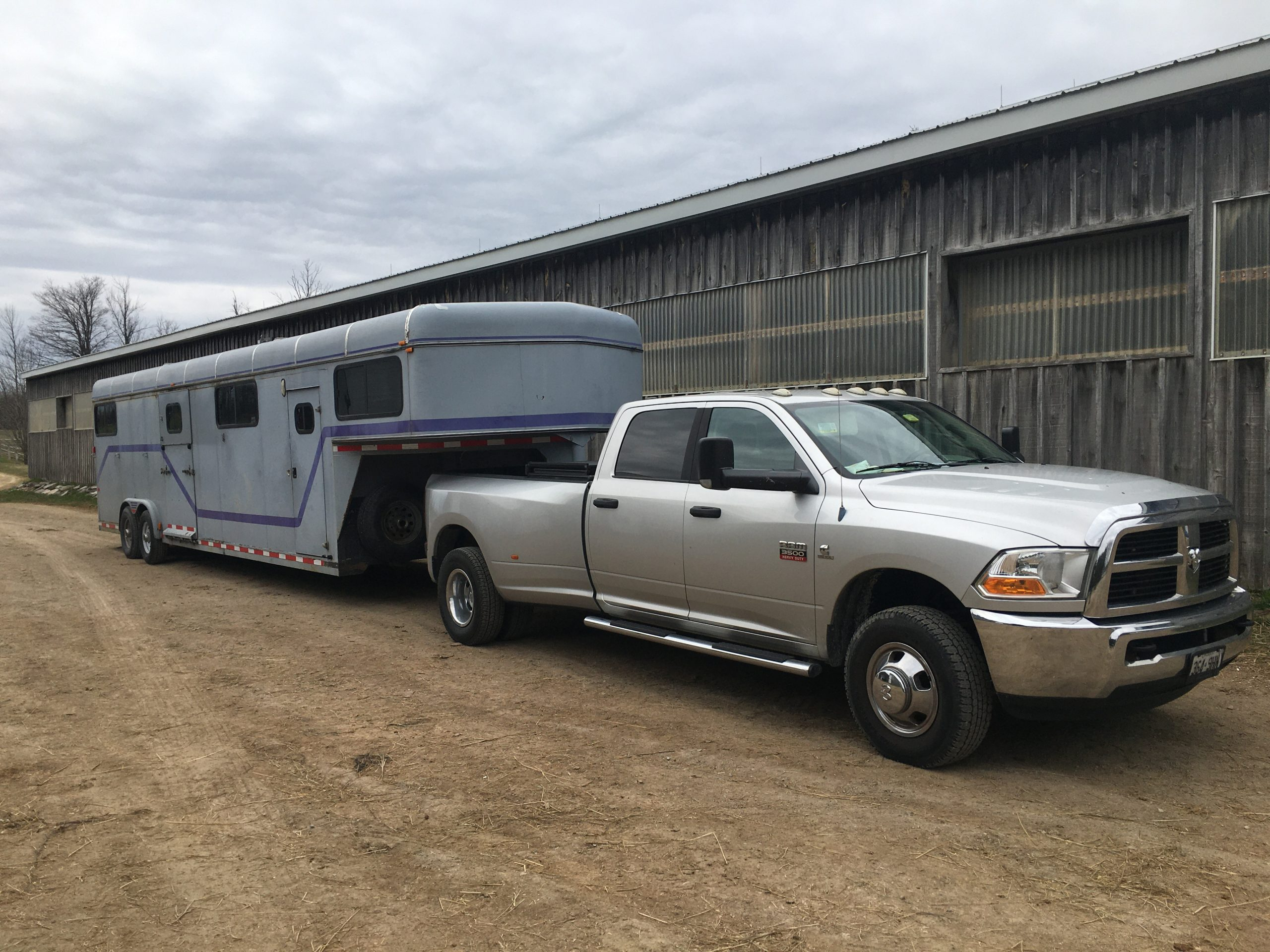 Horse trailer and pickup truck
